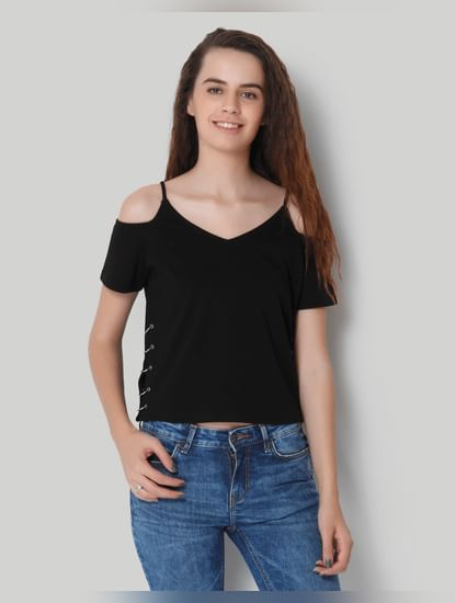 X Marvel Black Hook Detail Cold Shoulder Crop Top
