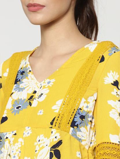 Yellow Floral Print Balloon Sleeves Mini Dress