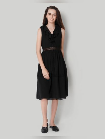 Black Sleeveless Ruffled Midi Dress