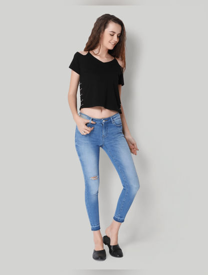 Light Blue Ankle Length Mid Rise Skinny Jeans