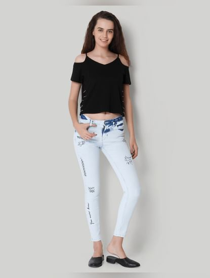 Blue Bleached Mid Rise Ankle Length Skinny Jeans