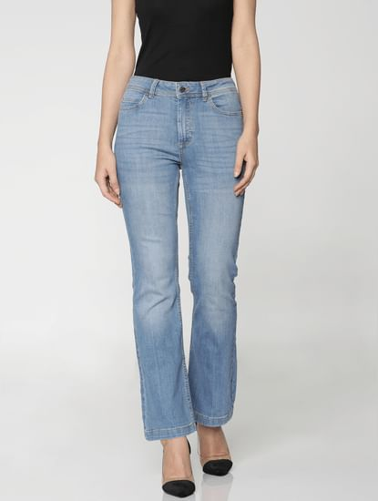 Blue High Rise Flared Boot Cut Jeans