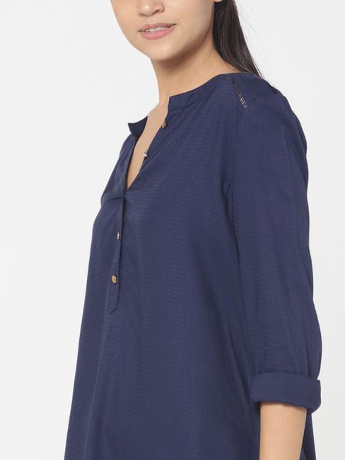 Dark Blue Dobby Weave Shirt