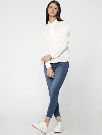 White Lace Up Detail Shirt