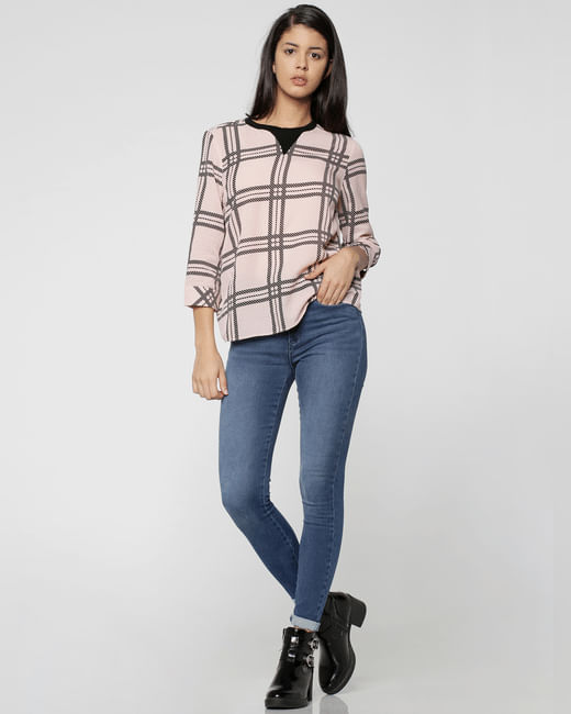 Pink Loose Fit Check Top