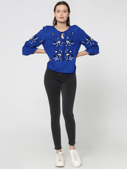 Blue Embroidered Long Sleeves Top