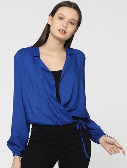 Blue Wrap Top