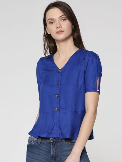 Blue Short Sleeves Flared Top