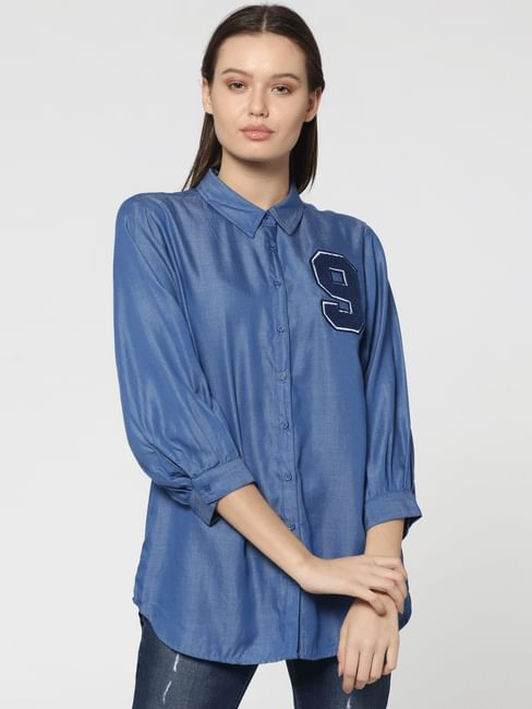 Blue Number Applique Print Denim Shirt