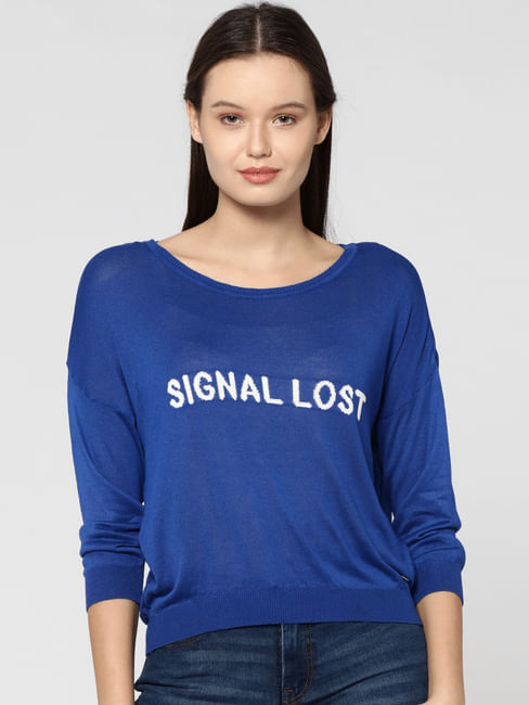 Electric Blue Text Print Cropped Pullover