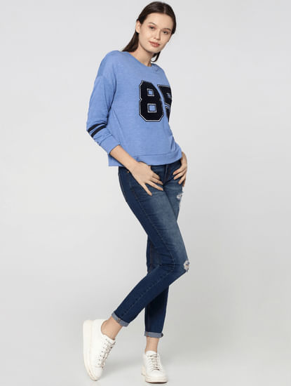 Blue Varsity Graphic Print Sweatshirt