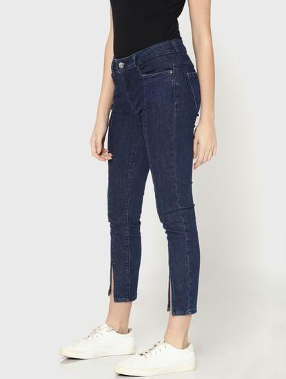 Dark Blue Mid Rise Skinny Fit Split Ankle Jeans