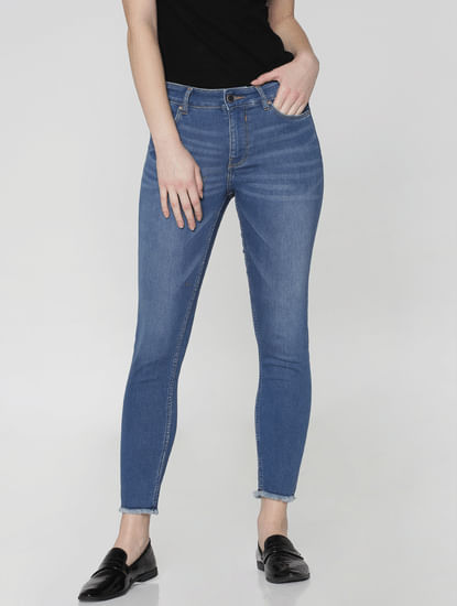 Blue Mid Rise Washed Ankle Length Skinny Fit Jeans