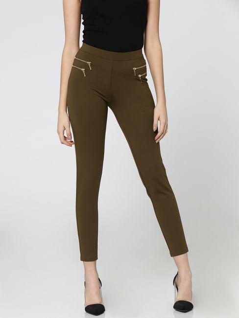 Olive Green Mid Rise Skinny Fit Zip Detail Leggings