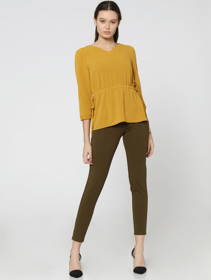 Olive Green Mid Rise Skinny Fit Zip Detail Leggings