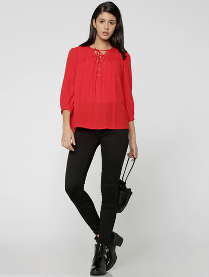 Red Lace Up Neck Detail Top