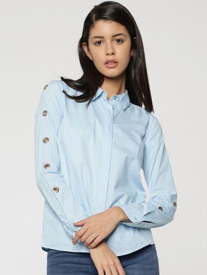 Light Blue Eyelet Detail Shirt