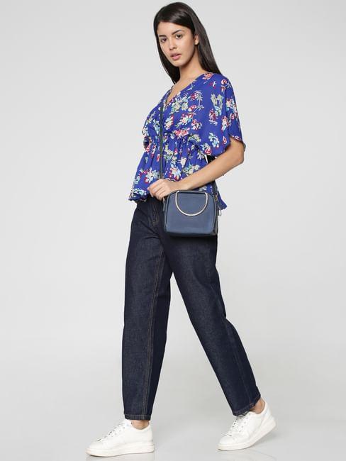 Blue Floral Print Cinched Waist Top