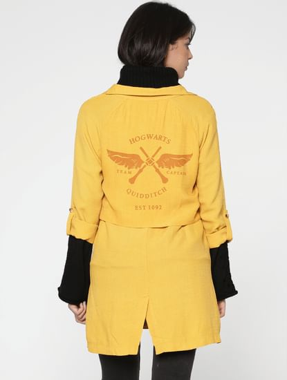 X Harry Potter Yellow Text Print Casual Blazer