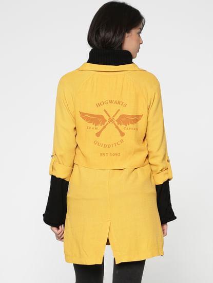 X Harry Potter Yellow Text Print Casual Blazer