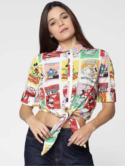X Mickey White All Over Mickey Print Self Tie Crop Shirt