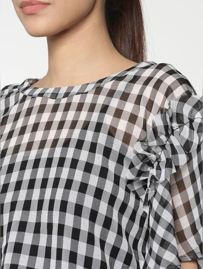 White Checks Ruffle Sleeves Top