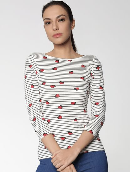 White All Over Heart Print Striped T-Shirt