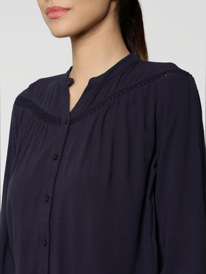 Navy Blue Cut Work Embroidery Cuff Sleeves Top