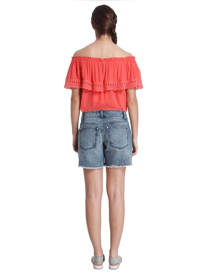 Women Casual Patchwork/Fringe Shorts