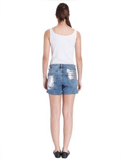 Women Casual Denim/Foil Print Shorts