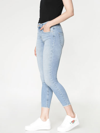 Blue Mid Rise Washed Slim Fit Jeans