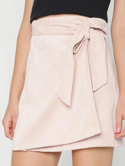 Pink Mid Rise Wrap Corduroy Skirt