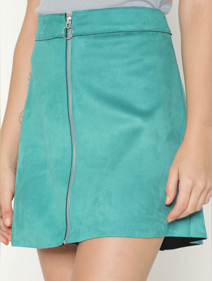 Green Mid Rise Suede Mini Skirt