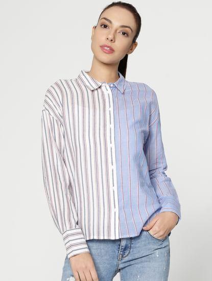 White Colour Blocked Shirt