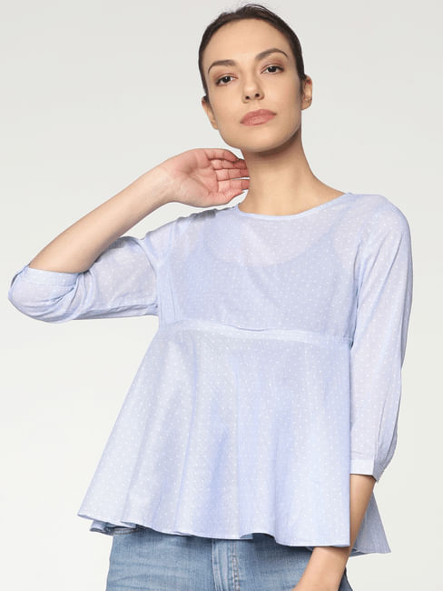 Blue Striped All Over Dotted Print Flared Top