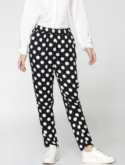 Black Mid Rise All Over Polka Dot Print Ankle Length Pants