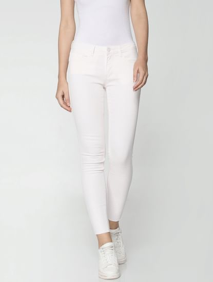 Light Pink Mid Rise Ankle Length Slim Fit Pants