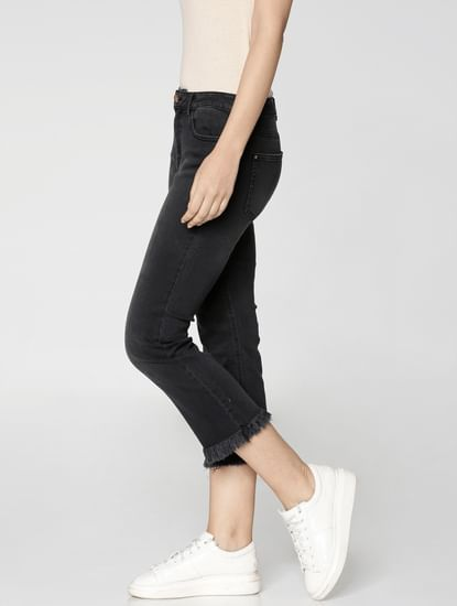 Black Mid Rise Frayed Hem Cropped Comfort Fit Jeans