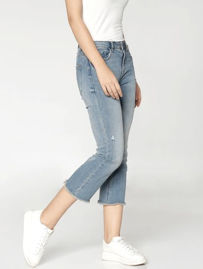 Blue Mid Rise Distressed Comfort Fit Jeans