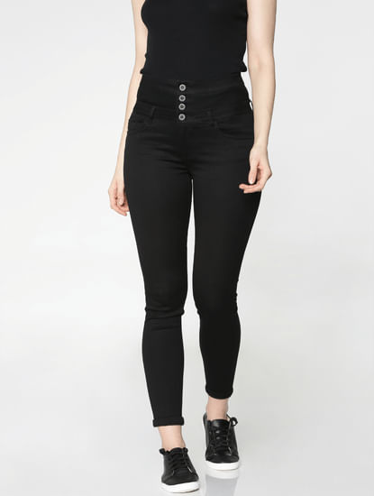 Black High Waist Ankle Length Skinny Fit Jeggings