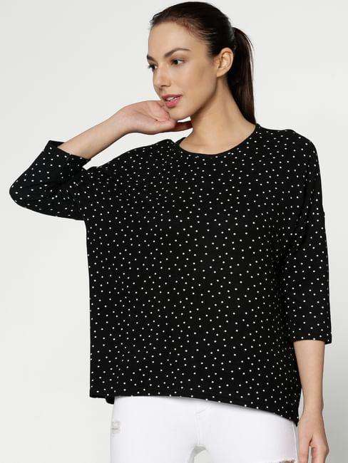 Black All Over Dotted Print Hi Low Hemline T-Shirt