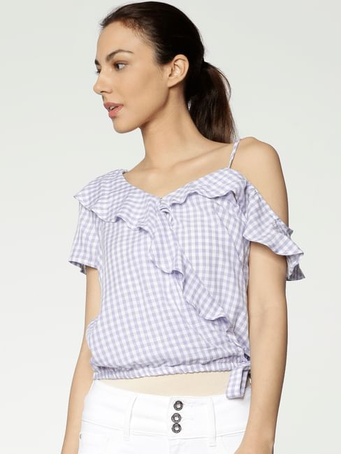 Lavender Checks Tie Up Ruffle Detail Cropped Top