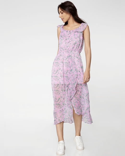 Lavender All Over Floral Print Ruffle Detail Midi Dress