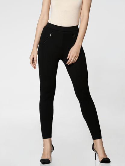Black Mid Rise Zip Detail Skinny Fit Leggings