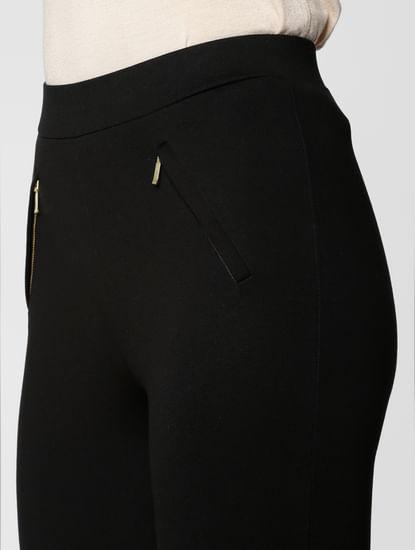 Black Mid Rise Zip Detail Skinny Fit Leggings