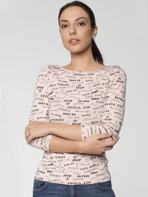 Beige All Over Text Print T-Shirt