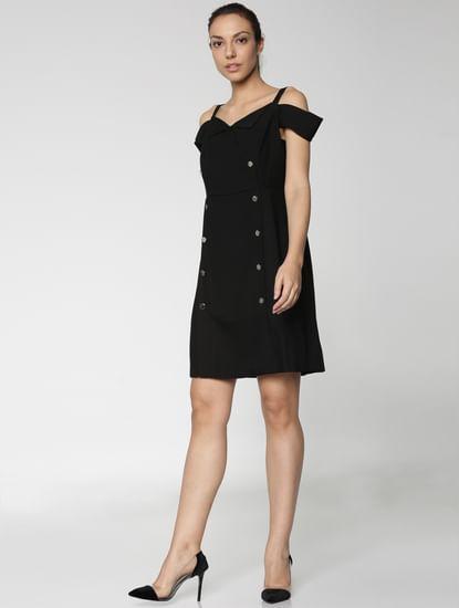 Black Off Shoulder Button Detail Mini Dress