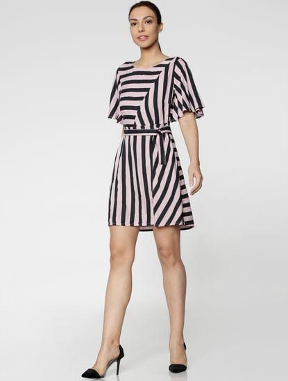 Lavender Striped Mini Dress