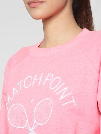 Neon Pink Graphic Print Sweatshirt