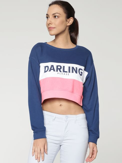 Blue Colour Blocked Cropped Sweatshirt